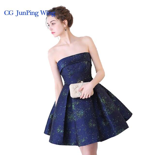 9f0176aa5 2017 Nuevo Niñas diseñador elegante graduación Vestidos azul oscuro corto  sin mangas fuera del hombro Vestidos