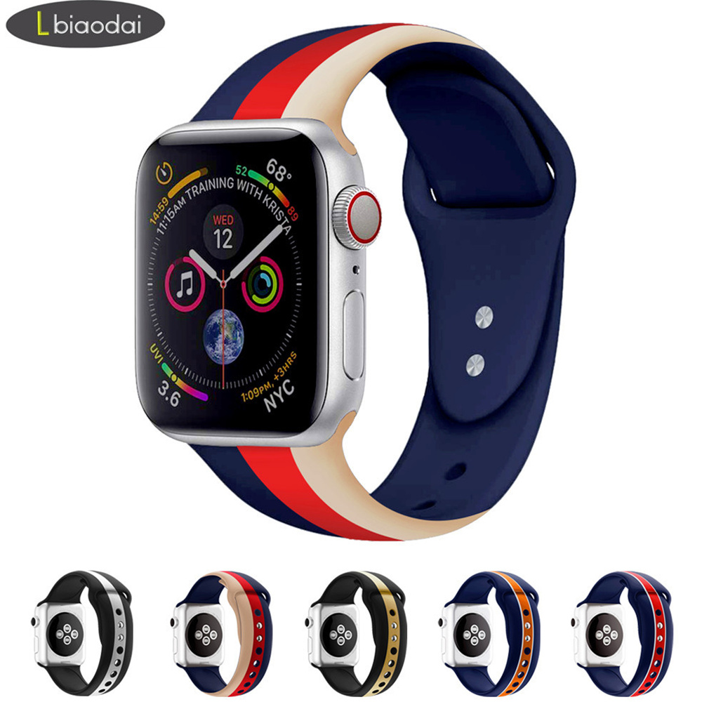 Strap For Apple Watch 4 5 Band 44mm 40mm IWatch 5 4 3 2 1 Band 42mm 38mm Sport  Silicone Correas Bracelet Belt Watchbands