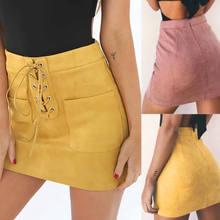 c3bfec73f8222b Fashion Vrouwen Hoge Taille A-lijn Pocket Suede Mini Rok Zomer Bandage Roze  Geel Kaki Lace Up Rokken Kleding