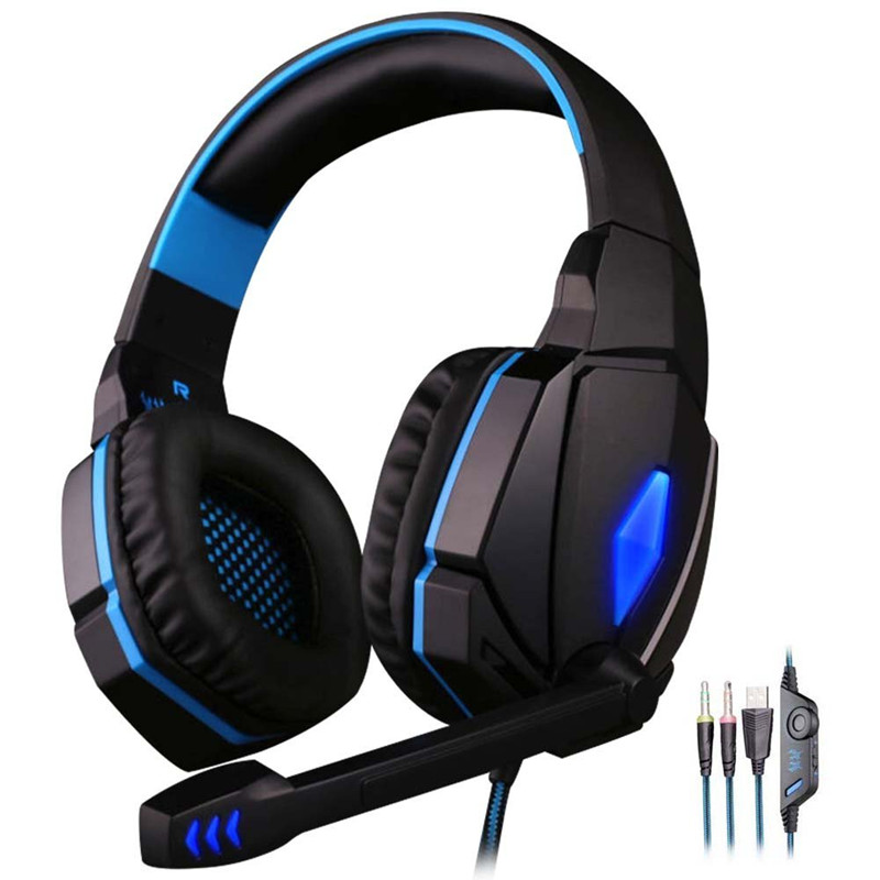 Kotion EACH G4000 USB 3.5mm Gaming headphone Stereo Bass Gamer Headsets With Microphone LED Lights For PC Computer Laptop Game