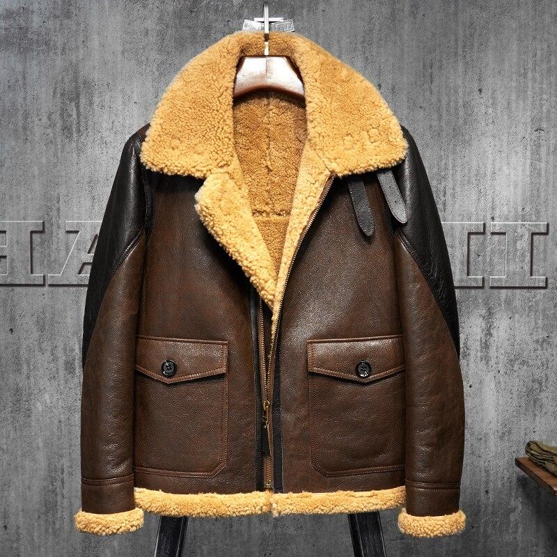 Light Brown B3 Mens Shearling Leather Jacket Original Flying Jacket Mens Fur Coat Pilots Coat