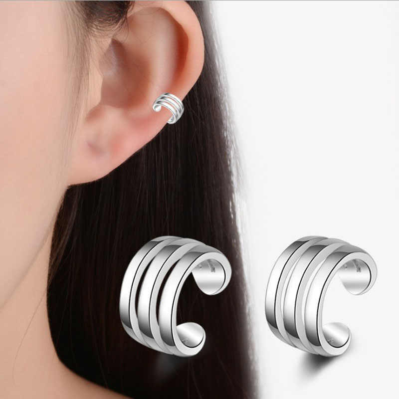 KOFSAC New Simple 925 Silver Ear Cuff Earrings For Women Charming Hot Non Piercing Cartilage Ear Clip Jewelry Girl Best Gifts