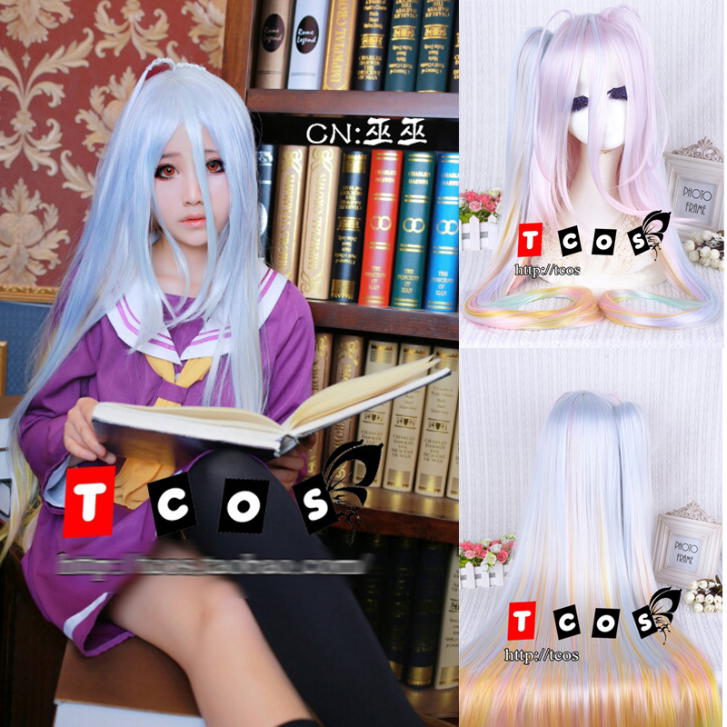 Anime No Game No Life Shiro 110cm Long Multi-color Synthetic Hair Cosplay Costume Wig With A 90cm Chip Ponytail