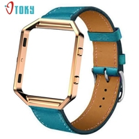 Excellent Quality Luxury Leather Watch Band Wrist Strap Metal Frame For Fitbit Blaze Watch Dropship N05