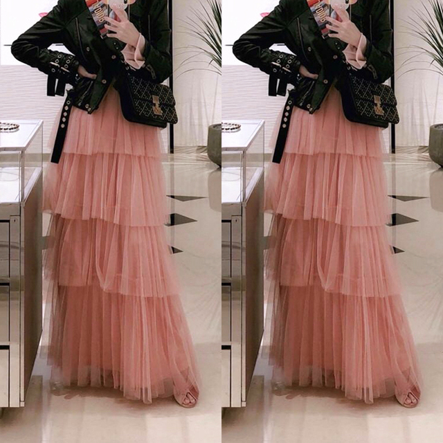 a06262663db Chic Blush Pink Ruffles Tulle Long Skirts Tiered Pleated Mesh Causal Street  Style Women Maxi Skirt Saias Top Fashion Custom Made