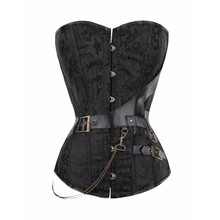 Vintage Corset Waist Trainer Brocade Gothic Corselet with Chain Belt Design Sexy Bustier Steampunk Plus Size s-6xl Basque