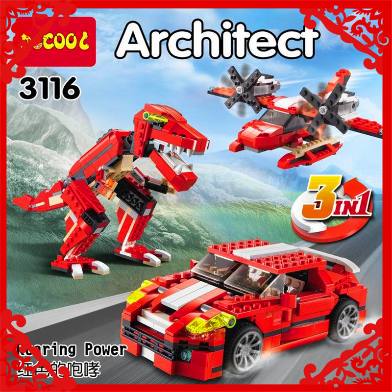 DECOOL 3116 City Architect 3In1 Creator Roaring Building Block 374Pcs DIY Educational  Toys For Children Compatible Legoe decool 3114 city creator 3in1 vehicle transporter building block 264pcs diy educational toys for children compatible legoe