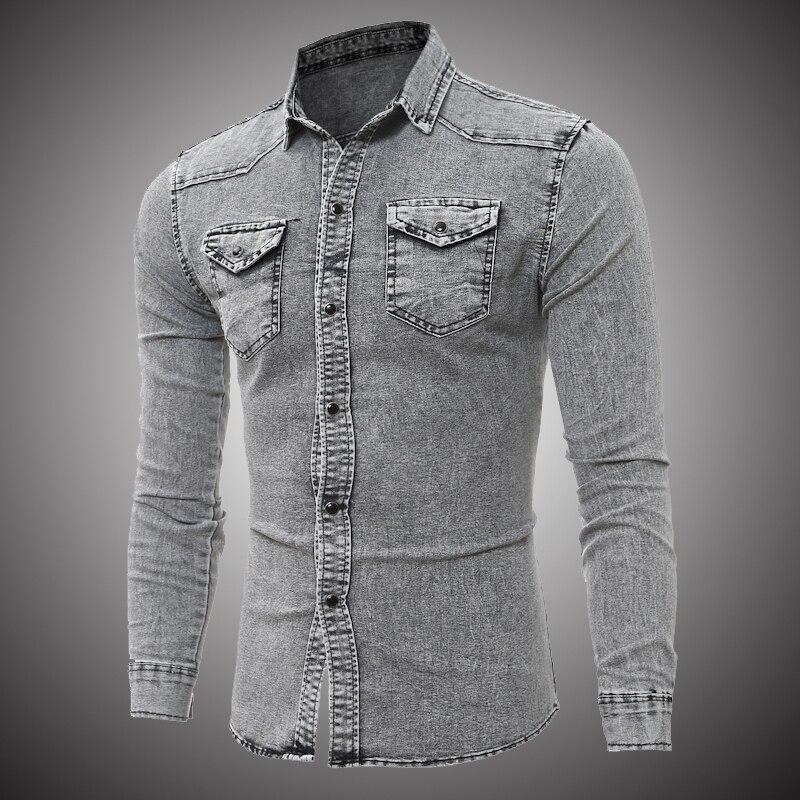 HaiFux 2018 Neue Männer Jeans Shirts Sommer Baumwolle Wasser Waschen Männlichen Tops Kurzarm Blume Drucken Denim Shirt Männer