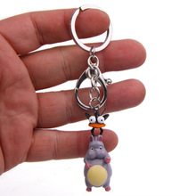 New Cute Spirited Away Fly Mouse Cartoon Bell Doll Japanese Animation Action Figure For Keyring Key Chains Holder Purse Bag