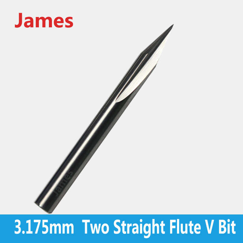 1pc 3.175mm SHK Double Flutes Straight V Engraving Tools Two Flutes Straight V Bits for Hardwood Straight V Cutting Milling