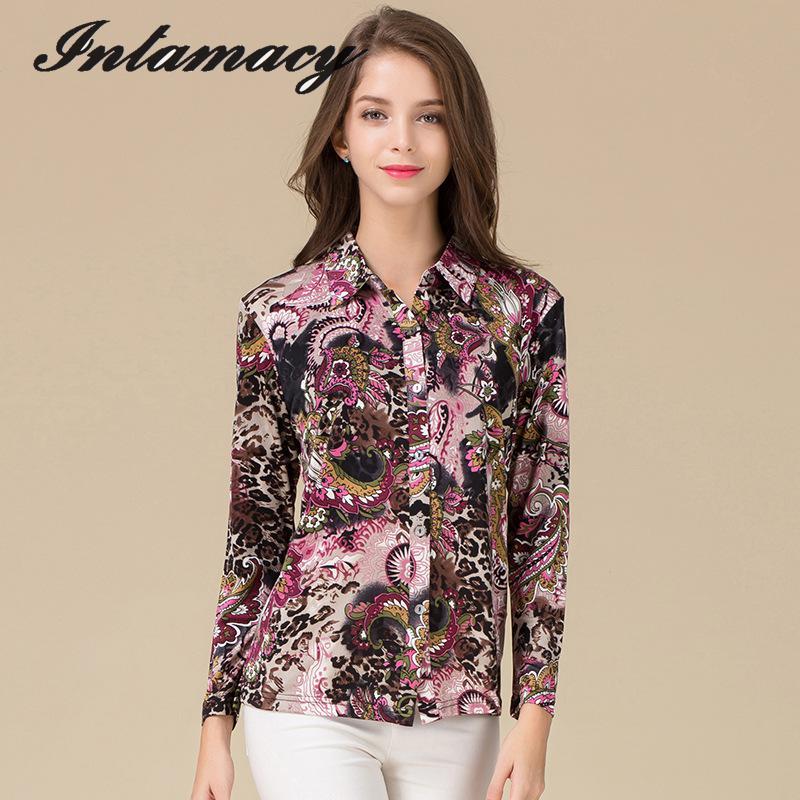 جديد الحرير محبوك قميص ، حجم كبير فضفاض قميص ، 100% الحرير الحقيقي ، طباعة سيدة قميص بأكمام طويلة-في تي شيرتات من ملابس نسائية على  مجموعة 1