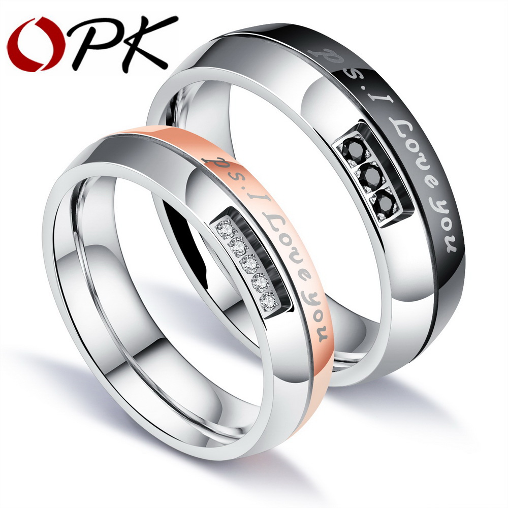 ОПК Романтический я тебя люблю обручальное кольцо для любителей проложить кубического циркония розовое золото Цвет Сталь пары Обручение п... ...