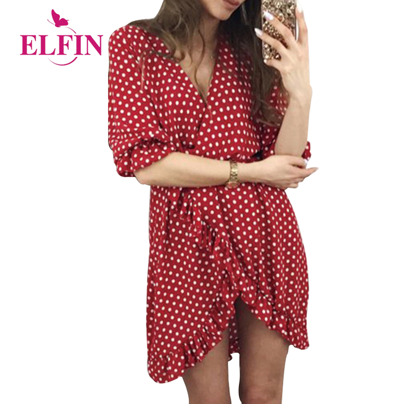 Polka Dot Summer Dress Women Casual Ruffles Half Sleeve V-Neck Irregular Hem Sundress Female Beach Dress Vestidos WS8355R