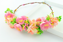 fuchsia color Daisy Flower Tiaras Woman Girls Hair Accessories Bridal Flower Headwear Party Prom Flower Crowns Garland