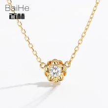 BAIHE Solid 14K Yellow Gold 0.08ct Certified H/SI Genuine Natural Diamonds Women Trendy Fine Jewelry Elegant unique Necklaces