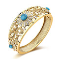 Luxury Natural Stone Vintage Jewelry Flower Bangle Gold Plated Women Fashion Austria Crystal Nigeria Bracelet Bridal Bijoux Gift