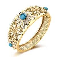 Swater pedra natural jóias flor pulseira da cor do ouro do vintage moda feminina áustria cristal pulseira nigéria nupcial bijoux presente