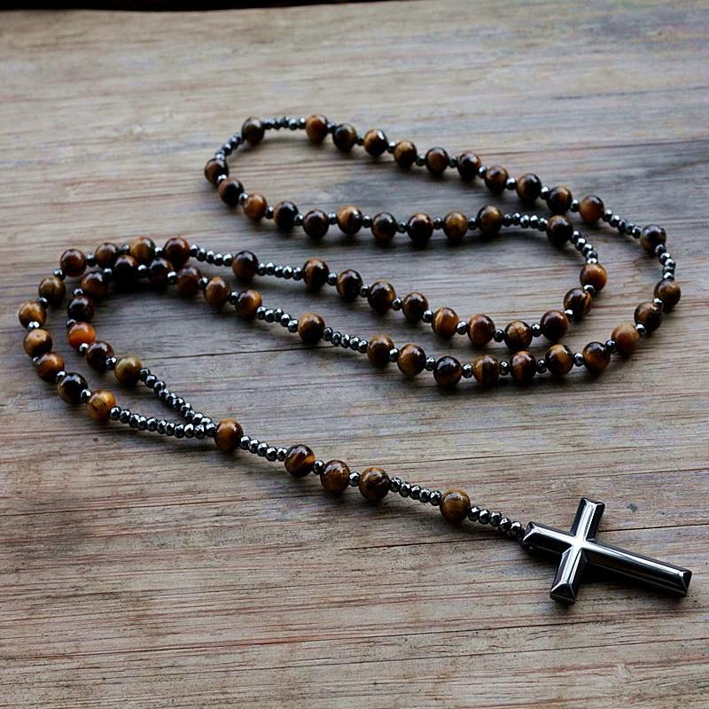 6mm Lapis Lazuli stone bead & Hematite cross pendant necklace for Men Women Catholic Christ Rosary Cross Pendant