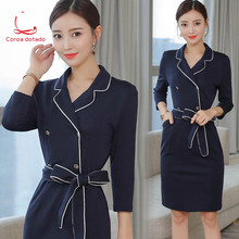 Professional dress autumn women 2018 new fashion ol workwear beauty salon work clothes temperament buttock skirt