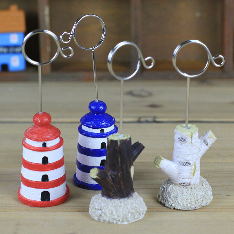 Lovely Lighthouse Stump Resin Memo Card Cardholder Photo Message Stationery Office Supplies Wholesale Creative Holder