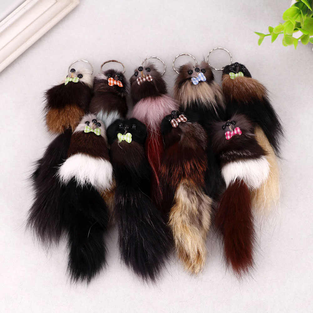 Cor aleatória 1 Pcs Nova Moda Bonito Pele Pele De Animal Chave Anéis Cadeia Pingente Keychain Charme Bolsa das Mulheres da Menina jóias