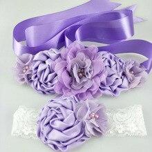 1 комплект, шифоновая, розовая, белая, фиолетовая, Цветочная лента, повязка-бант для ребёнка атласная лента, Цветочные волосы для девочек, Свадебные ремни для беременных