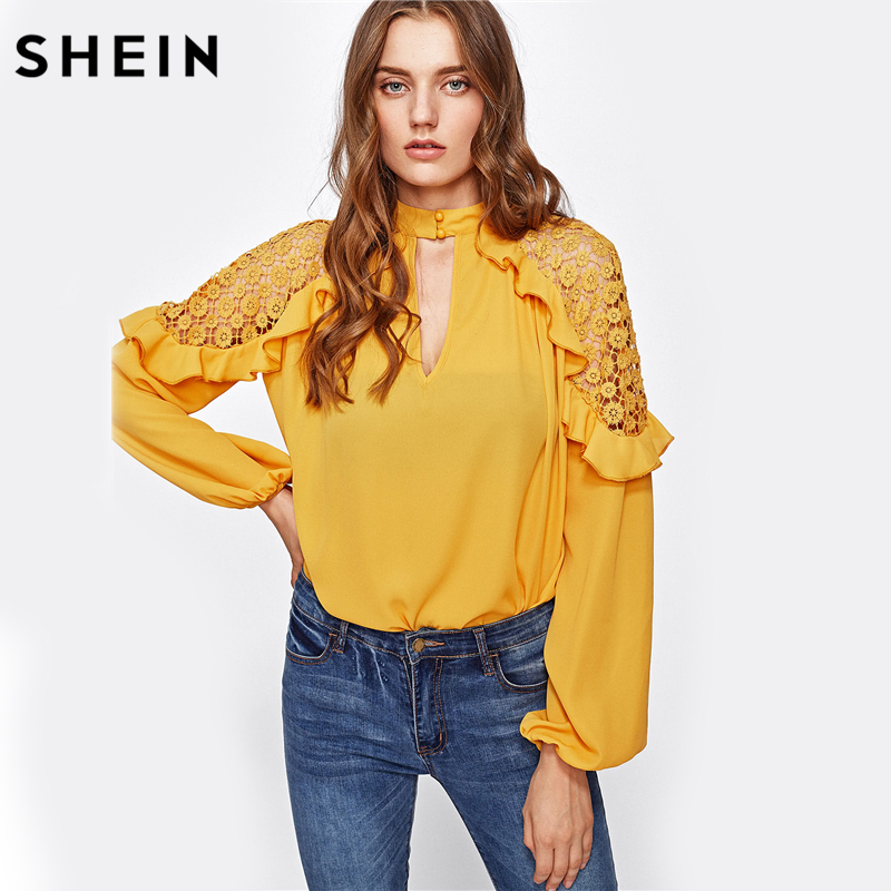SHEIN Keyhole Front Frill Trim Crochet Shoulder Blouse Womens Tops 2017 Yellow Band Collar Long Sleeve Sexy Blouse