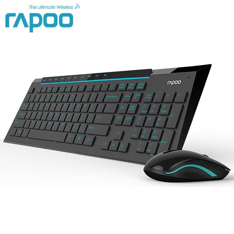 Rapoo Wireless Multimediale Combo Tastiera e Mouse con Moda Ultra Sottile Whaterproof Silenzioso Mouse per il PC Del Computer di Gioco TV