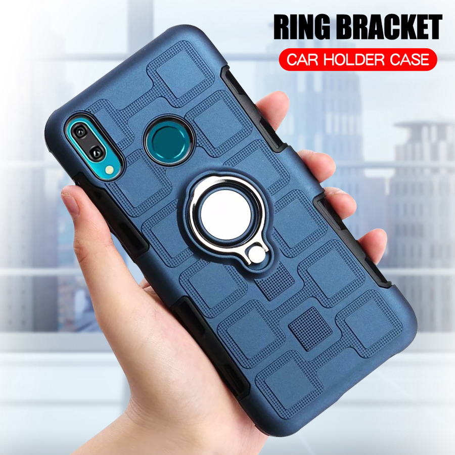 Cover For Huawei Y9 2019 Silicone Shockproof Phone Case For Huawei Y9 2019 Luxury Armor Anti-Fall Back Cover Ring Stand Case