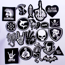 Pulaqi Rock Music Metal Bands Patch Clothes Iron On Patches for Clothing Punk Stripe DIY Embroidered Badges For Stickers
