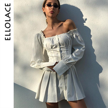 Ellolace Solid White Sexy Mini Pleated Dresses Off Shoulder Bodycon Puff Long Sleeve Backless Women Slim Elegant Shirt