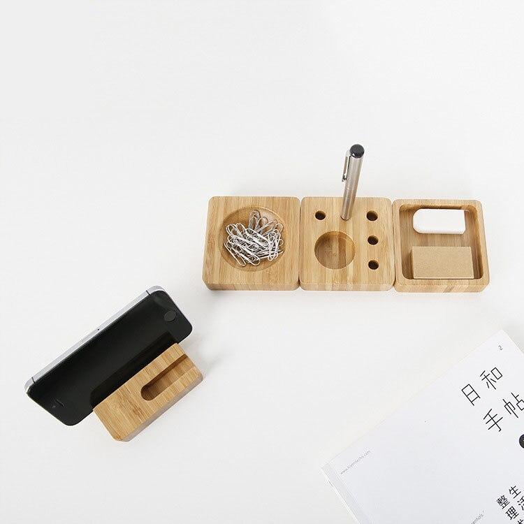 1 Pcs Creative desktop small items storage box bamboo material pencil box office supplies simple storage box 8*8*2CM 3