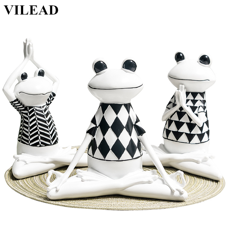 VILEAD 3 Styles Resin Black And White Stripes Frog Yoga Figurines Animal Yoga Statue Cute Frog Model For Office Home Decor Gifts