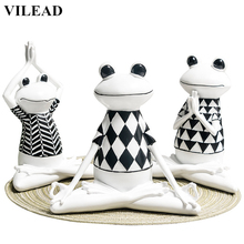 VILEAD 3 Styles Resin Black and White Stripes Frog Yoga Figurines Animal Statue Cute Model for Office Home Decor Gifts