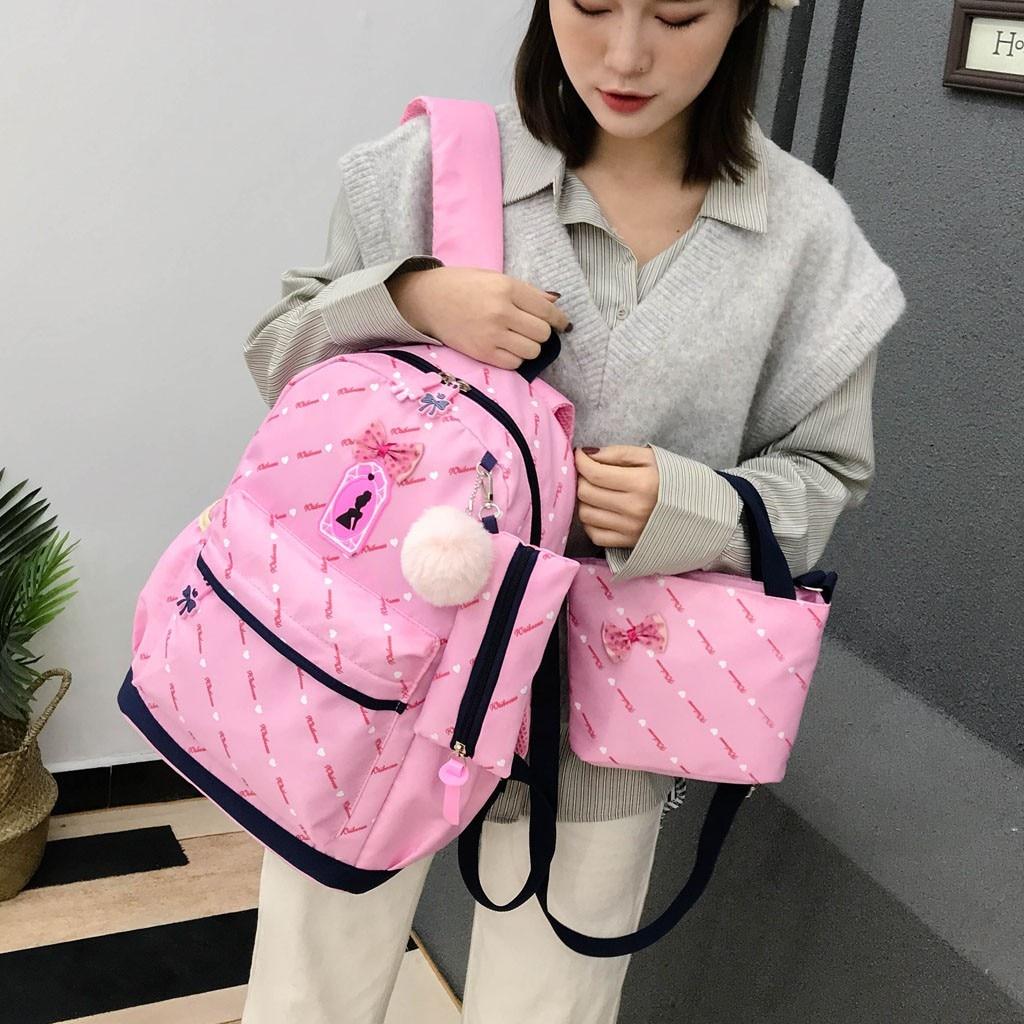 Women Bow Canvas Three-piece School Bag 5