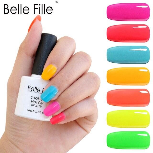 בל Fille 10 ml ג 'ל לק ניאון צבע UV LED Gelpolish קישוט לכה לספוג את DIY ג' ל לכה ג 'ל Lak