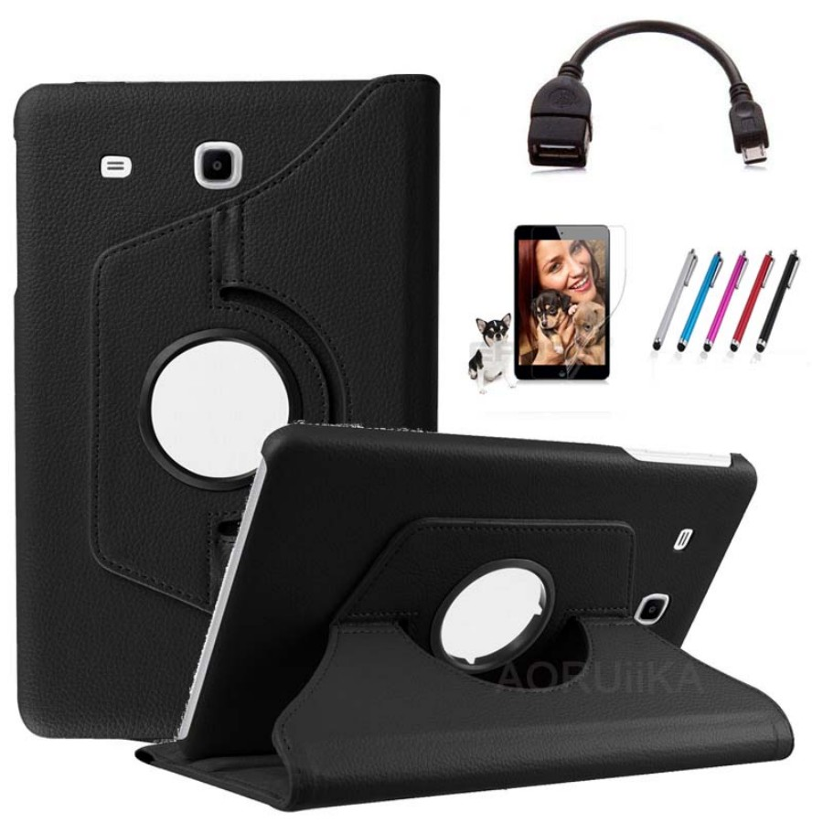 OTG+film+pen+Fashion 360 Degree Rotating PU Leather Cover for Samsung Galaxy Tab E 9.6 inch T560 T561 Tablet Protective Case