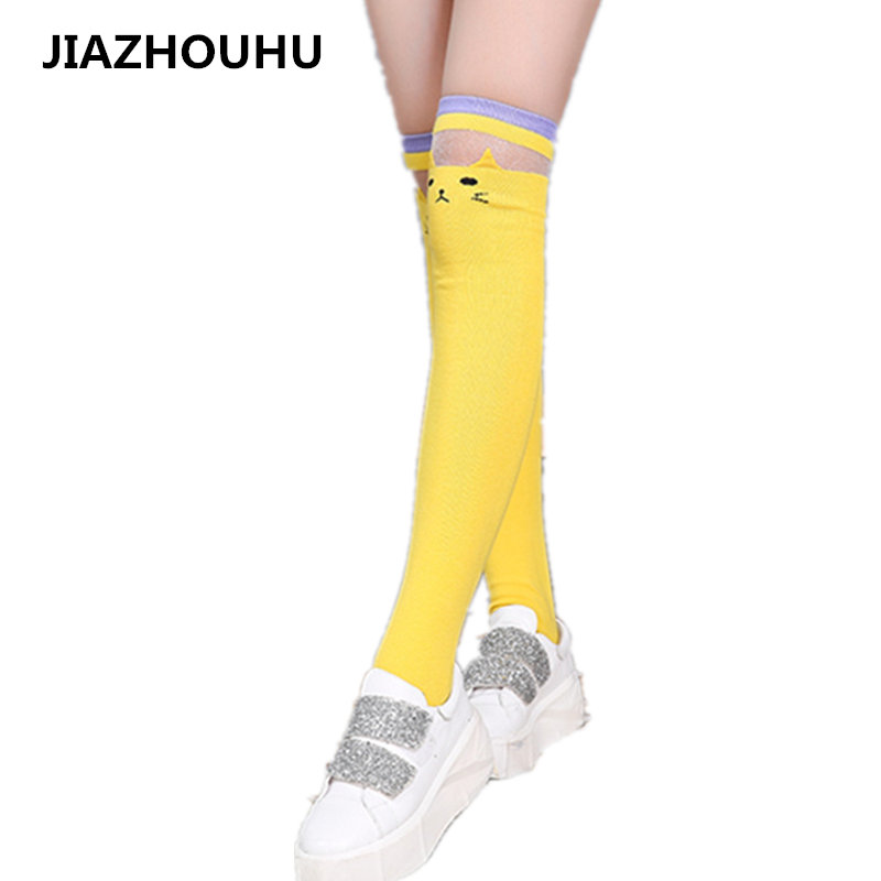 High Elasticity Girl Cotton Knee High Socks Uniform Heart Tree Women Tube Socks