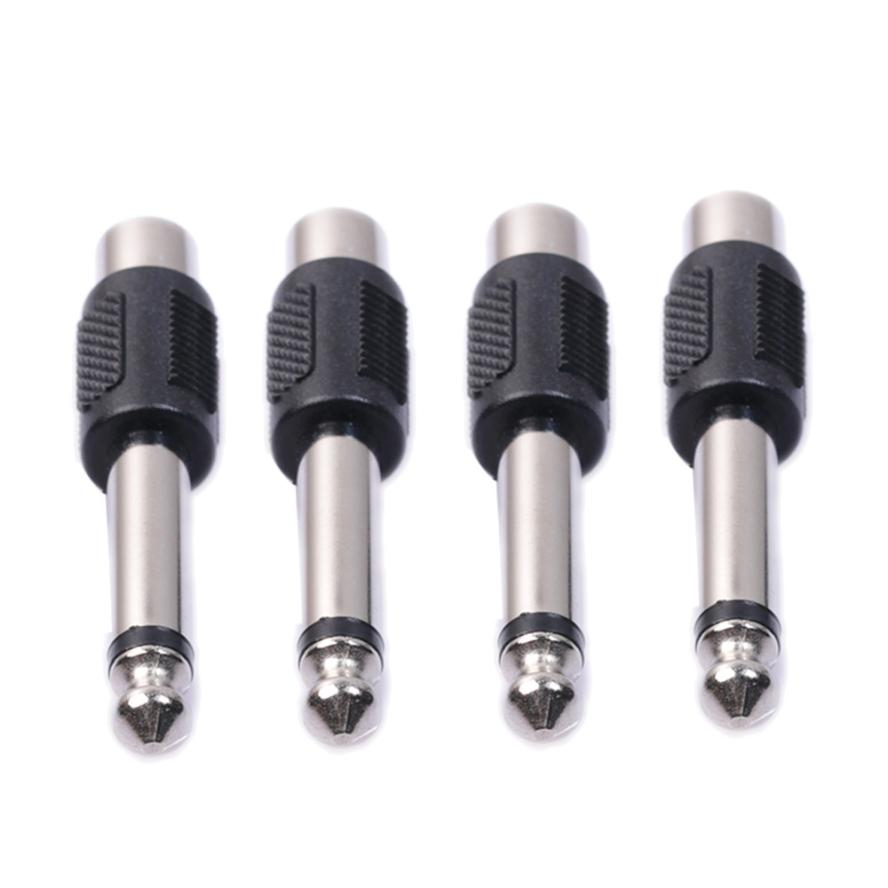 Omeshin New 4 Pack RCA Female to 1/4 6.35mm Male Mono Audio Adapters Connectors Plugs Hot 17Aug16 Dropshipping 71626 1007 i o connectors lfh vt female 30au female 30au 16 mr li