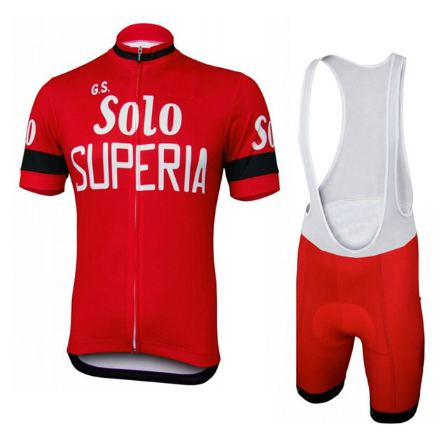 2018 GS Solo SUPERIA Classic Men s Cycling Jersey Short Sleeve Bicycle Clothing With Bib Shorts