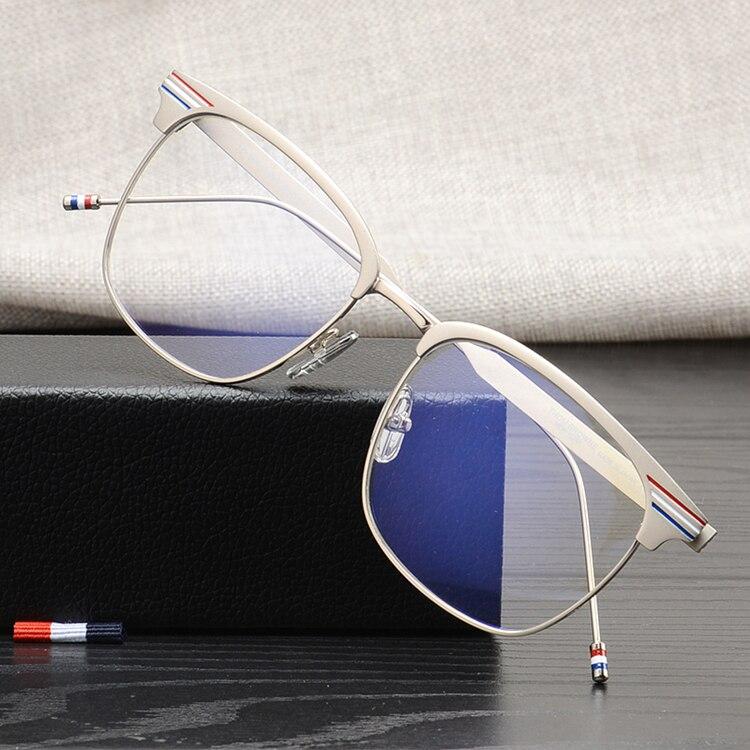Haute qualité en métal carré lunettes montures Thom marque pour hommes et femmes simple enduit voyage pêche lunettes de soleil TB104 lecture