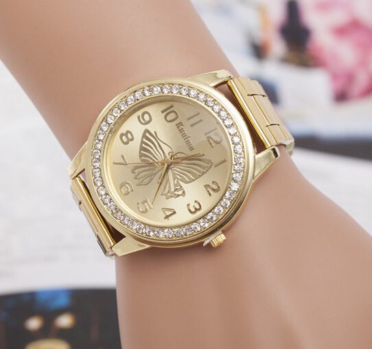 New Luxury Brand Geneva Gold Women Watches Fashion Rhinestone Watch stainless steel Ladies Quartz Wrist Watch relogio feminino in Women 39 s Watches from Watches