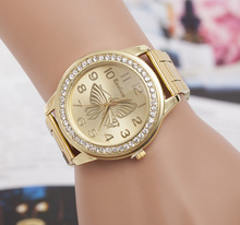 New Luxury Brand Geneva Gold Women Watches Fashion Rhinestone Watch stainless steel Ladies Quartz Wrist relogio feminino