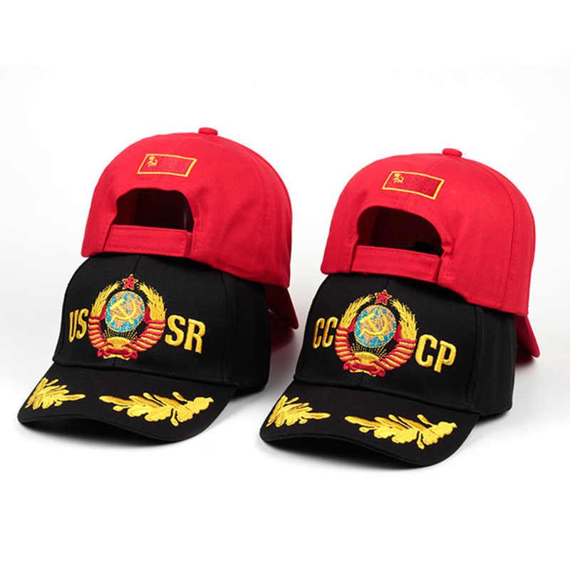 2019 CCCP zsrr rosyjski styl czapka z daszkiem Unisex czarny czerwony bawełniany czapka typu snapback z haftem 3D najwyższej jakości czapki
