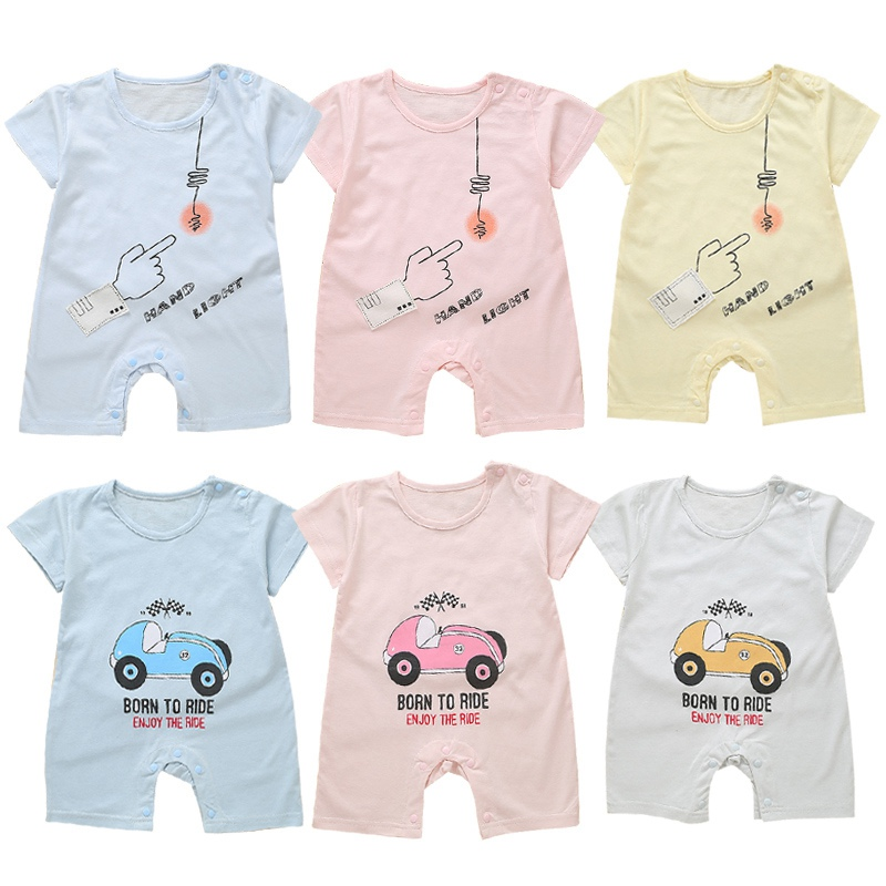 New Summer Hot Sale Baby Casual Jumpsuit Infant Kids Breathable Short-sleeved Bodysuit Newborn Newly Fashion Outfits For 0-2T