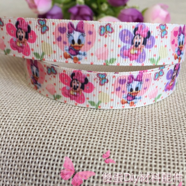 5/816mm Free shipping mickey mouse minnie printed grosgrain ribbon hairbow diy party decoration wholesalel 10 yards