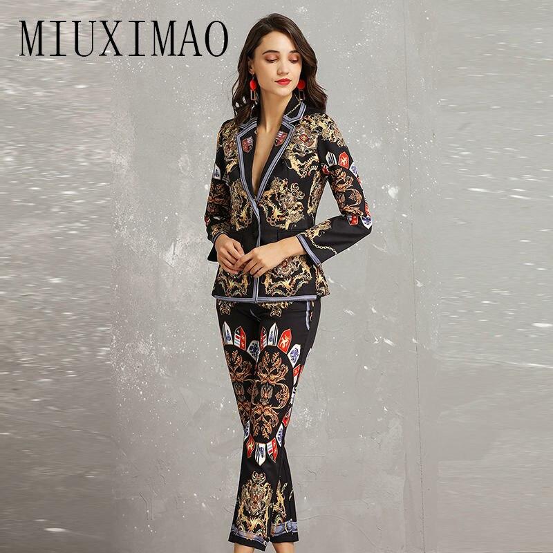 2019 High Quality Fashion Vintage 2 Piece Set Women  Print And Pattern Tops + Full Length Pants Jumpsuit  Women Vestido