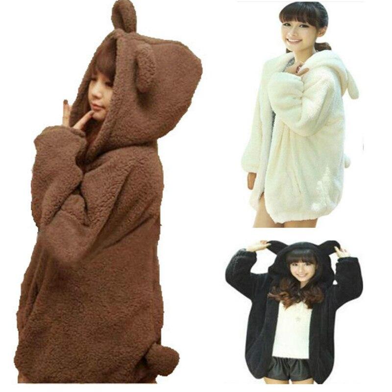 Warm Bear Ear Hooded Jacket gardigan hoodies Girls Loose Fluffy Women Outerwear Coat Faux Hairy Winter Down   Parkas   2018 Spring