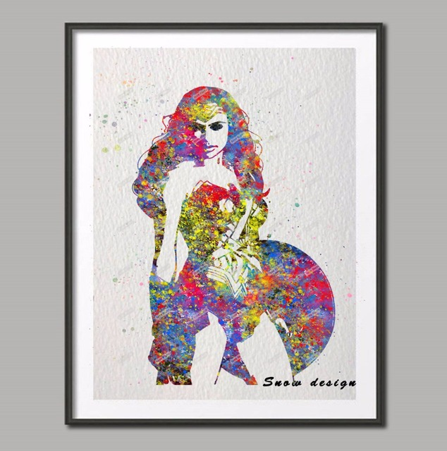 Original Watercolor Wonder Woman Superhero wall art poster print Picture canvas painting home decoration sticker Christmas  sc 1 st  AliExpress.com & Original Watercolor Wonder Woman Superhero wall art poster print ...