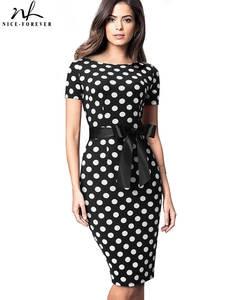 Sheath Female Dress Polka-Dots Bodycon Business-Party Stripes Nice-Forever Retro Vintage Elegant